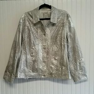 Chico's XL Silver Paisley Jacket